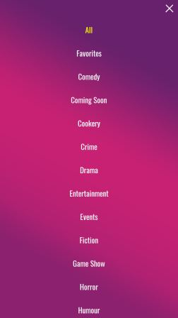 Colors TV App Menu